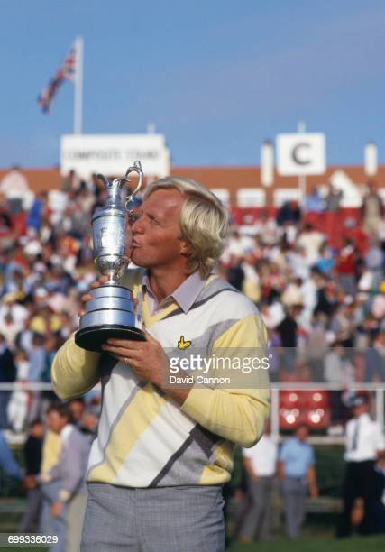 Greg Norman of Australia kisses the Claret Jug after winning his first major title during the final round of the 115th Open Championship held on 20th...