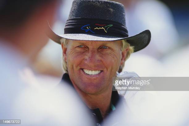 Greg Norman of Australia on 1st December 1991 during the Australian Open at the Royal Melbourne Golf Club in Melbourne Australia