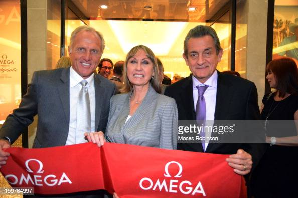 Greg Norman Sally Bethea and Stephen Urquhart attend the OMEGA boutique opening at Phipps Plaza on January 17 2013 in Atlanta Georgia