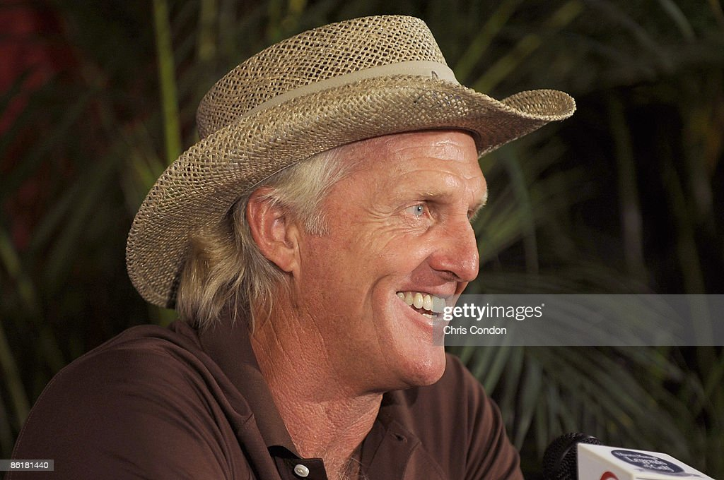 Greg Norman speaks to the media during a press conference at the Liberty Mutual Legends of Golf at Westin Savannah Harbor Golf Resort Spa held on...