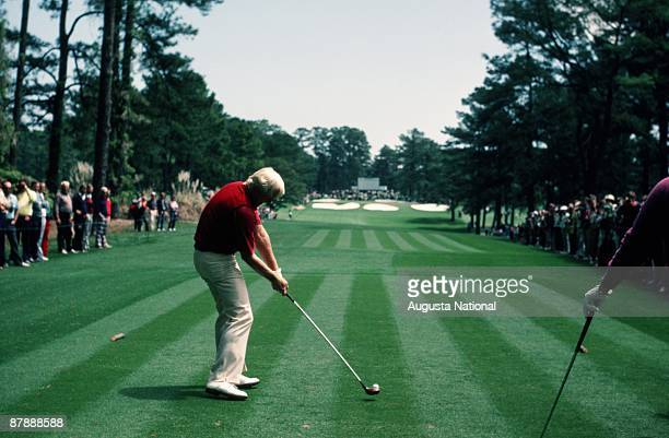Greg Norman tees off on the seventh hole during the 1984 Masters Tournament at Augusta National Golf Club on April 1984 in Augusta Georgia