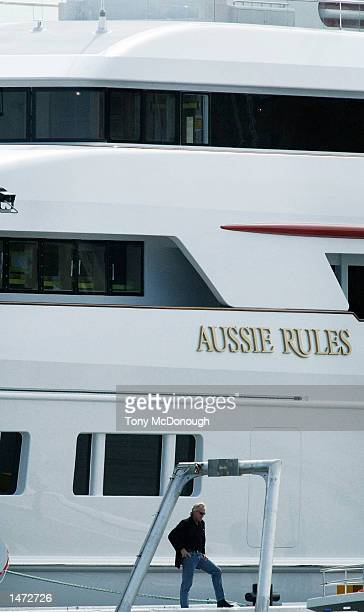 Greg Norman's Aussie Rules the biggest aluminium private luxury yacht in history is tied up at the Oceanfast boat shed in Perth Australia on October...