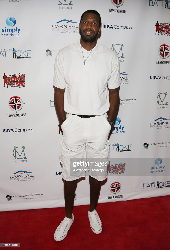 Greg Oden arrives at South Beach Battioke 2014 at Fillmore Miami Beach on January 27, 2014 in Miami Beach, Florida.