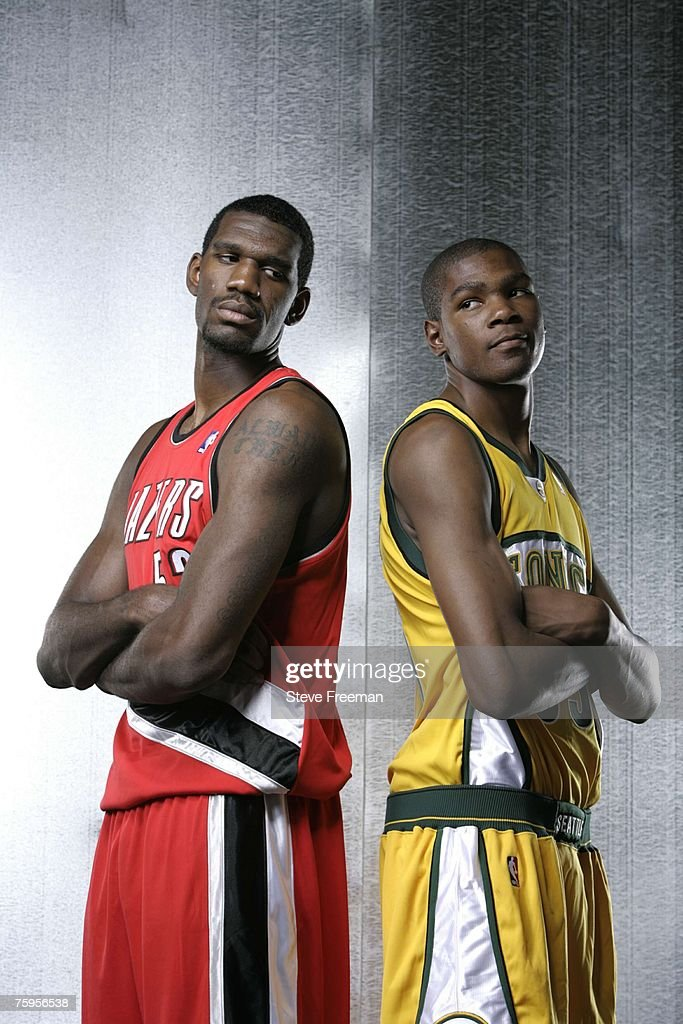 Greg Oden #52 of the Portland Trail Blazers and <a gi-track='captionPersonalityLinkClicked' href=/galleries/search?phrase=Kevin+Durant&family=editorial&specificpeople=3847329 ng-click='$event.stopPropagation()'>Kevin Durant</a> #35 of the Seattle SuperSonics pose for a portrait during the 2007 NBA Rookie Photo Shoot on July 27, 2007 at the MSG Training Facility in Tarrytown, New York.