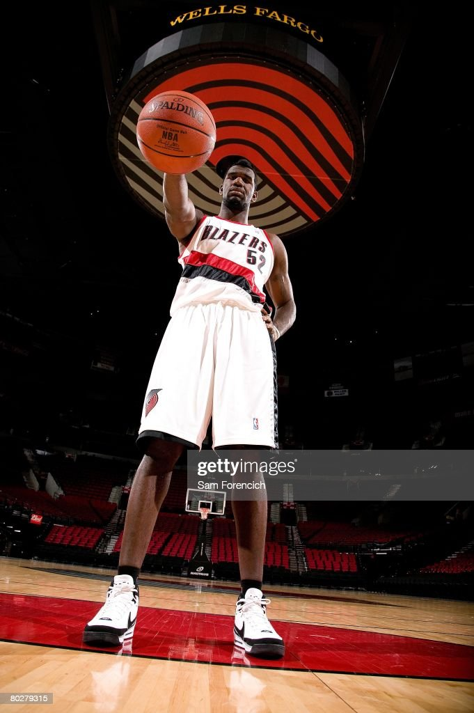 Greg Oden of the Portland Trail Blazers poses during a photo shoot at the Rose Garden Arena in Portland, Oregon.