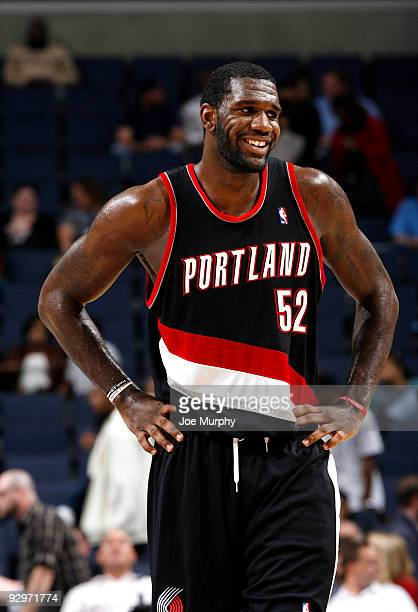 Greg Oden of the Portland Trail Blazers smiles during a game against the Memphis Grizzlies on November 10 2009 at FedExForum in Memphis Tennessee...