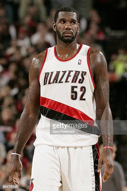 Greg Oden of the Portland Trail Blazers takes a break from the action during the game against the Memphis Grizzlies on November 27 2009 at the Rose...