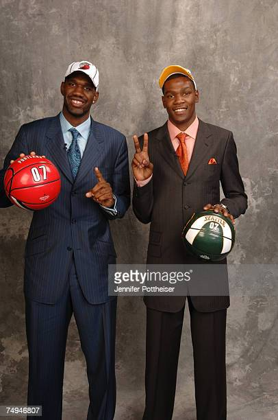 Greg Oden selected first overall by the Portland Trailblazers and Kevin Durant selected second overall by the Seattle SuperSonics pose for a portrait...