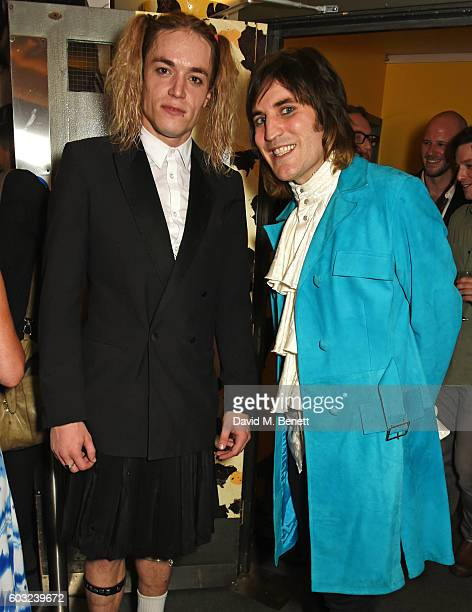 Greg Oliver and Noel Fielding attend the press night performance of '27' at The Cockpit Theatre on September 12 2016 in London England