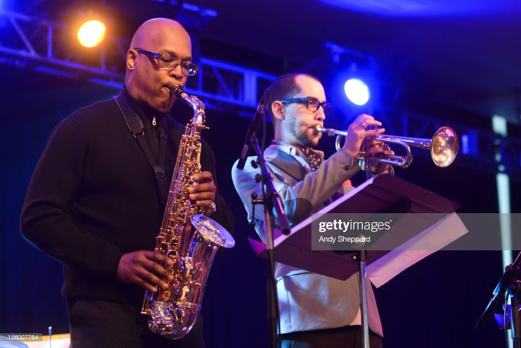 Greg Osby and Raynold Colom perform on stage with Michael Janisch & Aruan Oritz Quintet during the London Jazz Festival 2012 on November 10, 2012 in London, United Kingdom.