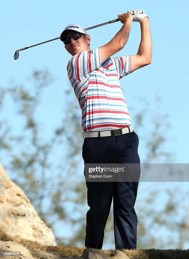Greg Owen of England hits his tee shot on the third hole during the second round of the Humana Challenge In Partnership With The Clinton Foundation at the Nicklaus Private Course at PGA West on January 18, 2013 in La Quinta, California.