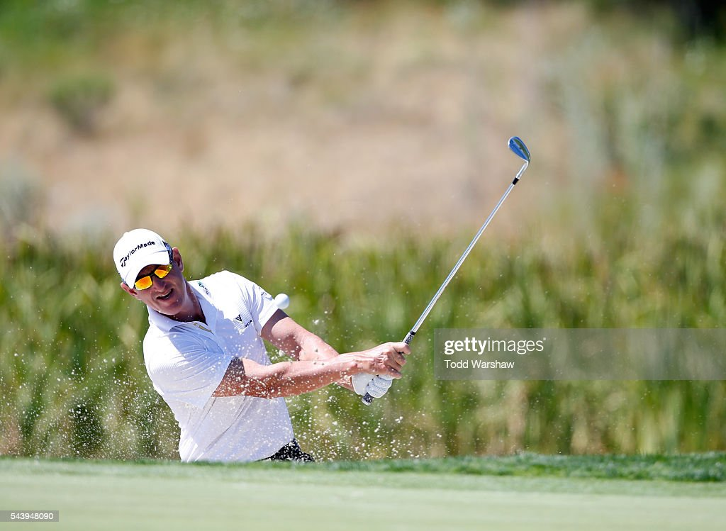 <a gi-track='captionPersonalityLinkClicked' href=/galleries/search?phrase=Greg+Owen&family=editorial&specificpeople=214705 ng-click='$event.stopPropagation()'>Greg Owen</a> of England plays his shot out of the bunker on the first green during the first round of the Barracuda Championship at the Montreux Golf and Country Club on June 30, 2016 in Reno, Nevada.