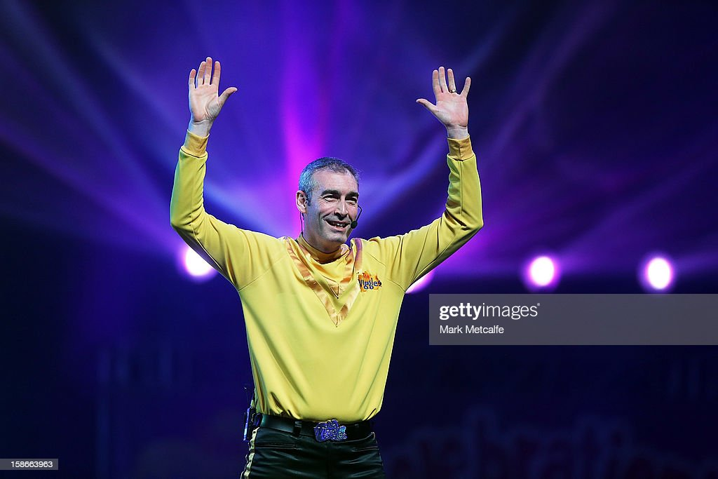 Greg Page of The Wiggles performs on stage during The Wiggles Celebration Tour at Sydney Entertainment Centre on December 23, 2012 in Sydney, Australia. This concert is the final time the original members of The Wiggles will perform on stage together as Greg, Murray and Jeff are retiring.