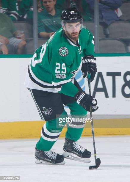 Greg Pateryn of the Dallas Stars handles the puck against the Colorado Avalanche at the American Airlines Center on April 8 2017 in Dallas Texas