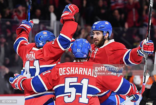 Greg Pateryn of the Montreal Canadiens celebrates after scoring a goal against the Philadelphia Flyers in the NHL game at the Bell Centre on November...
