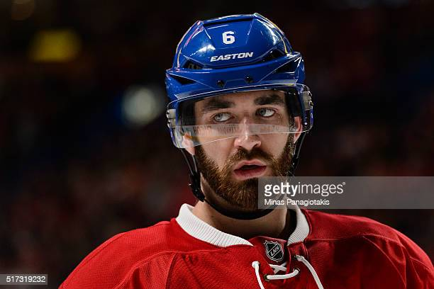 Greg Pateryn of the Montreal Canadiens looks on during the NHL game against the Calgary Flames at the Bell Centre on March 20 2016 in Montreal Quebec...
