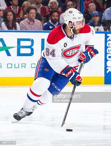 Greg Pateryn of the Montreal Canadiens skates against the Tampa Bay Lightning during the first period at the Amalie Arena on March 16 2015 in Tampa...