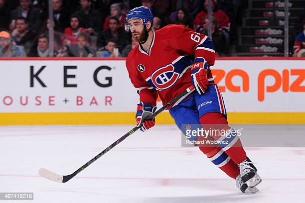 Greg Pateryn of the Montreal Canadiens skates during the NHL game against the Carolina Hurricanes at the Bell Centre on March 19 2015 in Montreal...