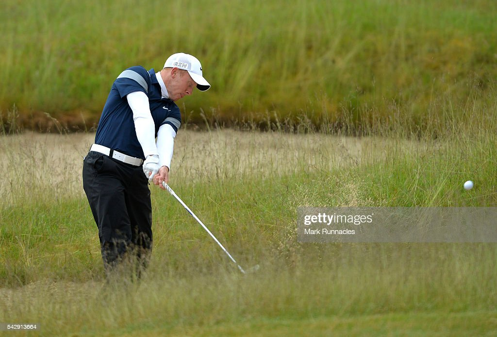 Greg Payne of England second shot to the 1st during the third day of the 2016 SSE Scottish Hydro Challenge at the MacDonald Spey Valley Golf Course on June 25, 2016 in Aviemore, Scotland.