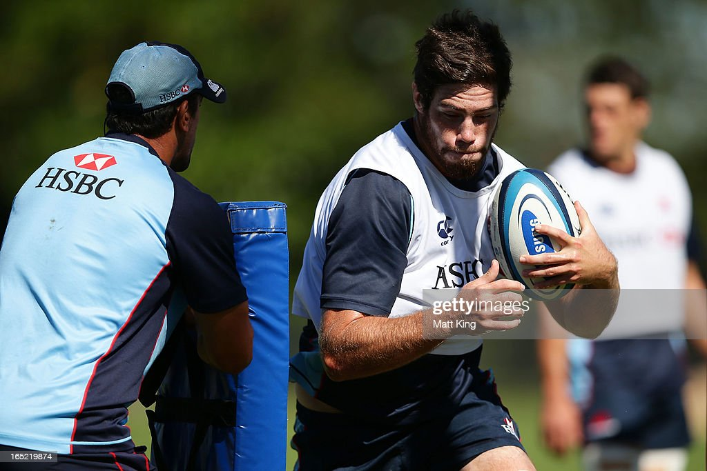 Greg Peterson runs with the ball during a Waratahs Super Rugby training session at Moore Park on April 2, 2013 in Sydney, Australia.