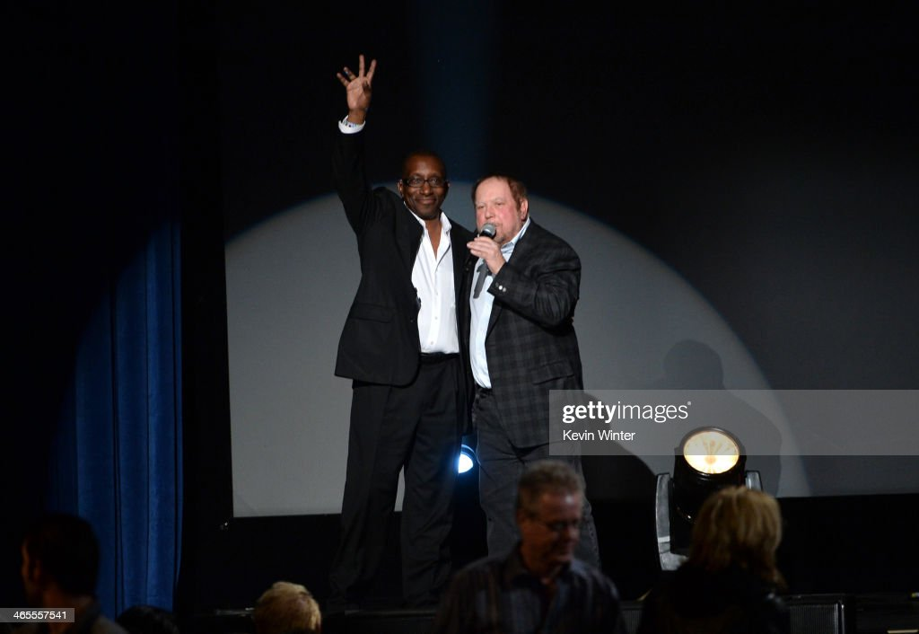 Greg Phillinganes (L) and Grammy's Executive Producer <a gi-track='captionPersonalityLinkClicked' href=/galleries/search?phrase=Ken+Ehrlich&family=editorial&specificpeople=647731 ng-click='$event.stopPropagation()'>Ken Ehrlich</a> speak onstage during 'The Night That Changed America: A GRAMMY Salute To The Beatles' at the Los Angeles Convention Center on January 27, 2014 in Los Angeles, California.