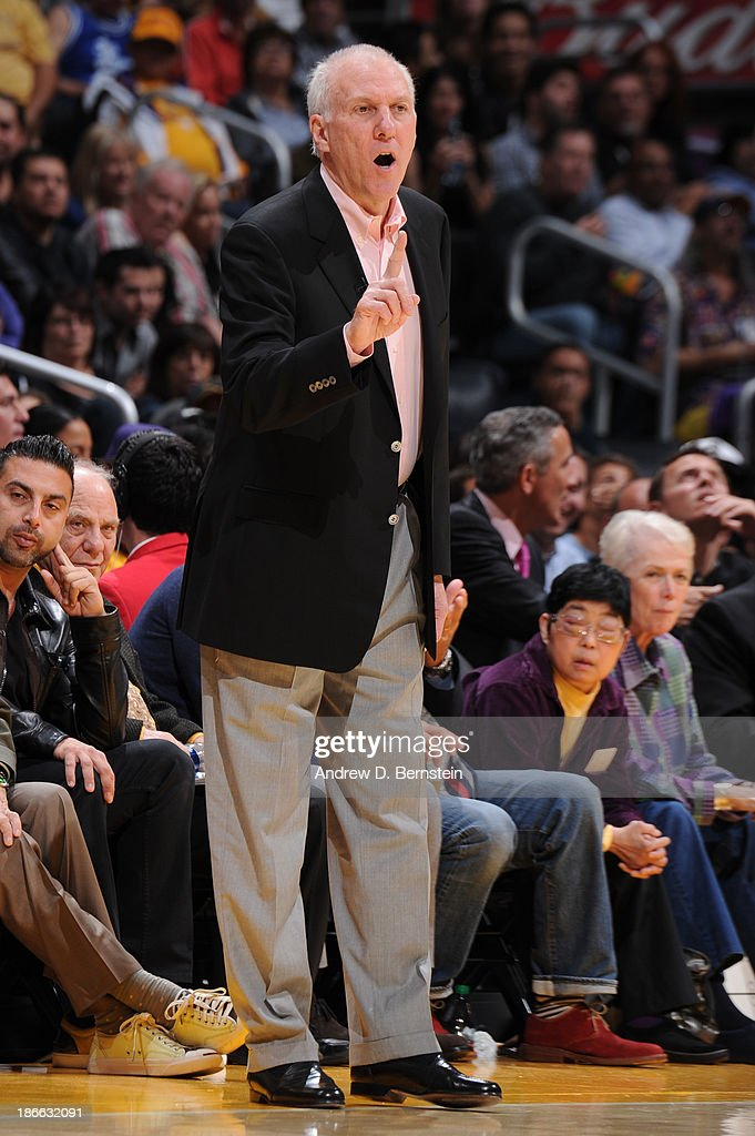 Greg Popovich of the San Antonio Spurs during a game against the Los Angeles Lakers on November 1, 2013 at STAPLES Center in Los Angeles, California.