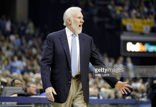 Greg Popovich the head coach of the San Antonio Spurs gives instructions to his team against the Memphis Grizzlies in game four of the Western...