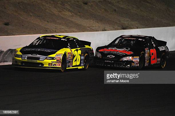 Greg Pursley driver of the GPM/Star Nursery/Real Water Ford followed by Michael Self driver of the RCR/Golden Gate Meat Co Chevrolet during the NAPA...