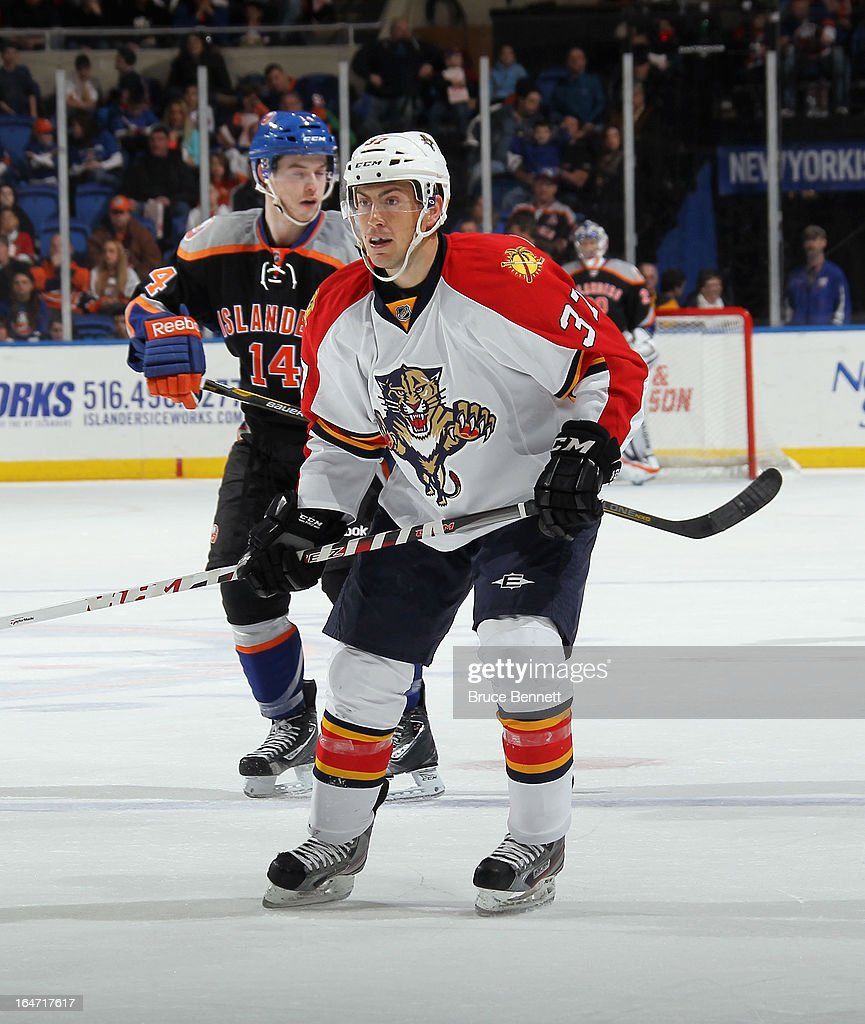 Greg Rallo #37 of the Florida Panthers skates against the New York Islanders at the Nassau Veterans Memorial Coliseum on March 24, 2013 in Uniondale, New York.