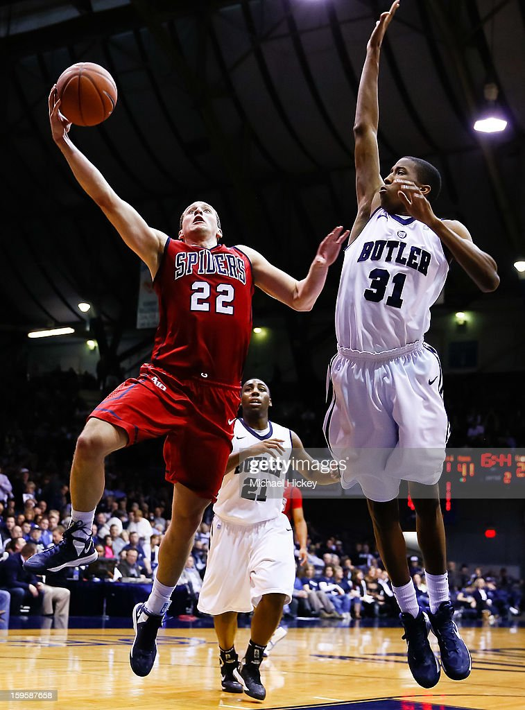 Greg Robbins #22 of the Richmond Spiders shoots the ball against Kameron Woods #31 of the Butler Bulldogs at Hinkle Fieldhouse on January 16, 2013 in Indianapolis, Indiana. Butler defeated Richmond 62-47.