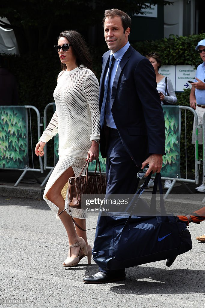 <a gi-track='captionPersonalityLinkClicked' href=/galleries/search?phrase=Greg+Rusedski&family=editorial&specificpeople=201807 ng-click='$event.stopPropagation()'>Greg Rusedski</a> and Lucy Connor arrive at Wimbledon on June 30, 2016 in London, England.