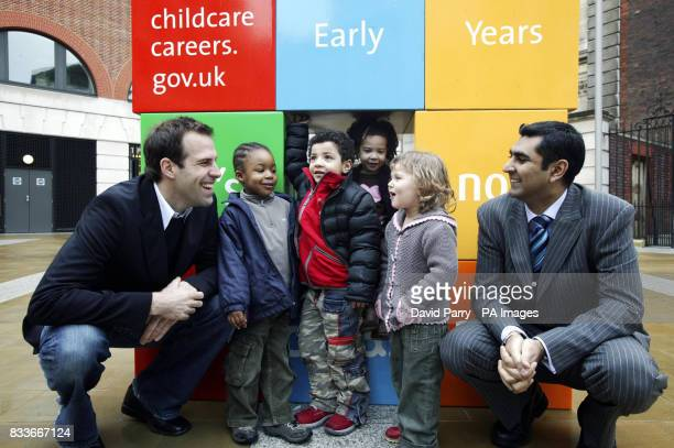 Greg Rusedski and Parmjit Dhanda Parliamentary Under Secretary of State for Children Young People and Families with Tyresse 3 Adam 4 Florence 3 and...