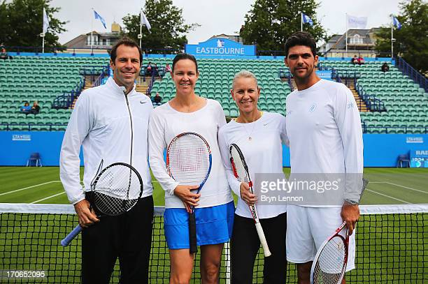 Greg Rusedski of Great Britain Lindsay Davenport of USA Rennae Stubbs and Mark Philippoussis of Australia pose on Legends' Day during day two of the...