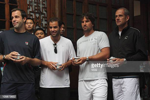 Greg Rusedski Pete Sampras of United States Pat Rafter of Australia and Guy Forget of France visit the China Lane before the 2010 Chengdu Open on...