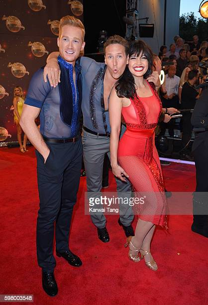 Greg Rutherford Brendan Cole and Daisy Lowe arrive for the Red Carpet Launch of 'Strictly Come Dancing 2016' at Elstree Studios on August 30 2016 in...