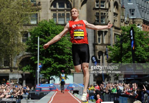 Greg Rutherford competes in the mens long jump during the BT Great City Games in Manchester