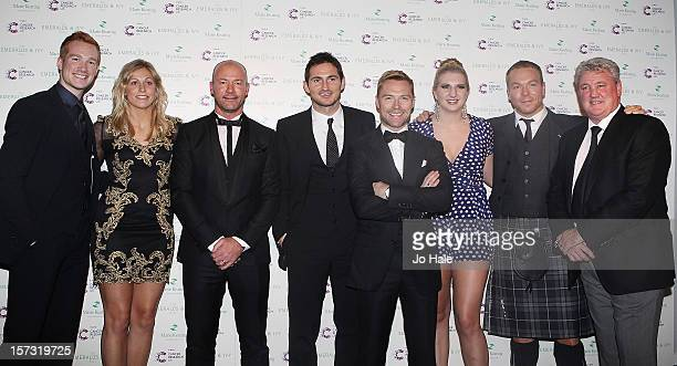 Greg Rutherford Gemma Gibbons Alan Shearer Frank Lampard Ronan Keating Rebecca Adlington Sir Chris Hoy and Steve Bruce pose backstage at The Emeralds...
