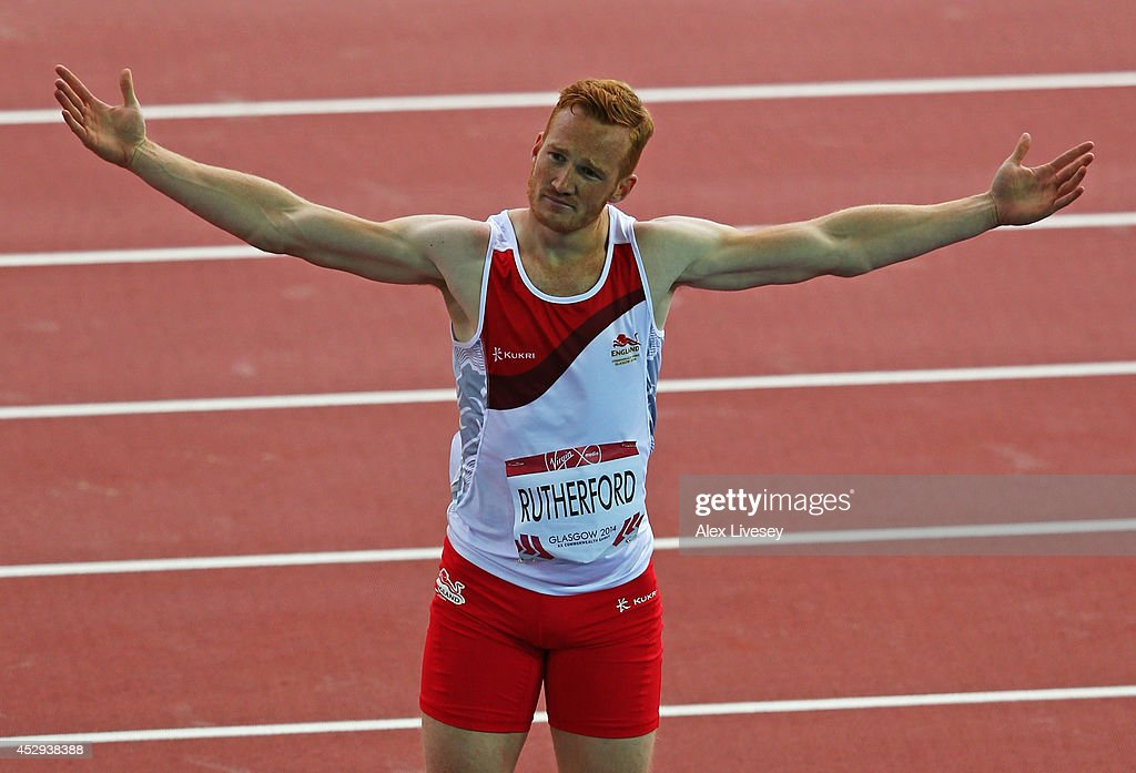 <a gi-track='captionPersonalityLinkClicked' href=/galleries/search?phrase=Greg+Rutherford&family=editorial&specificpeople=740587 ng-click='$event.stopPropagation()'>Greg Rutherford</a> of England celebrates after a jump in the Men's Long Jump Final at Hampden Park during day seven of the Glasgow 2014 Commonwealth Games on July 30, 2014 in Glasgow, United Kingdom.