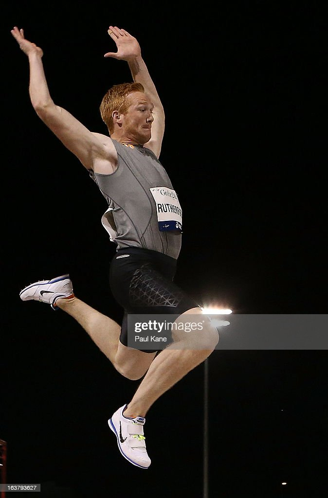 <a gi-track='captionPersonalityLinkClicked' href=/galleries/search?phrase=Greg+Rutherford&family=editorial&specificpeople=740587 ng-click='$event.stopPropagation()'>Greg Rutherford</a> of England competes in the mens long jump during the Perth Track Classic at the WA Athletics Stadium on March 16, 2013 in Perth, Australia.