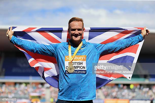 Greg Rutherford of Great Britain celebrates winning the men's long jump during day three of the Sainsbury's British Championships at Alexander...