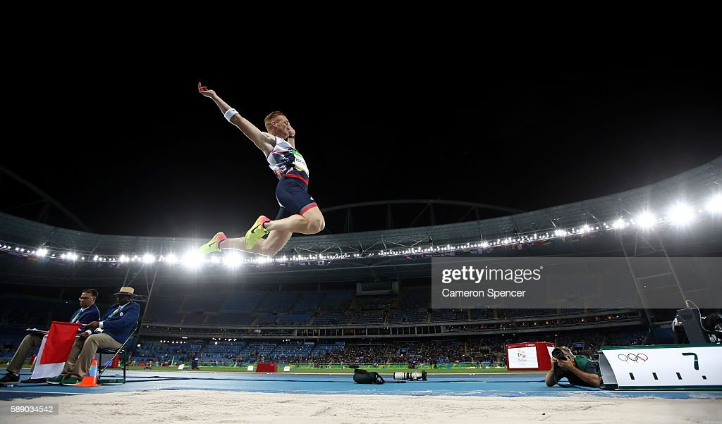 Greg Rutherford of Great Britain competes in the Men's Long Jump qualification on Day 7 of the Rio 2016 Olympic Games at the Olympic Stadium on August 12, 2016 in Rio de Janeiro, Brazil.