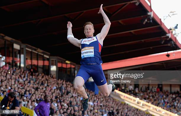 Greg Rutherford of Great Britain competes in the Mens Long Jump during the Sainsbury's Birmingham Grand Prix at Alexander Stadium on June 7 2015 in...