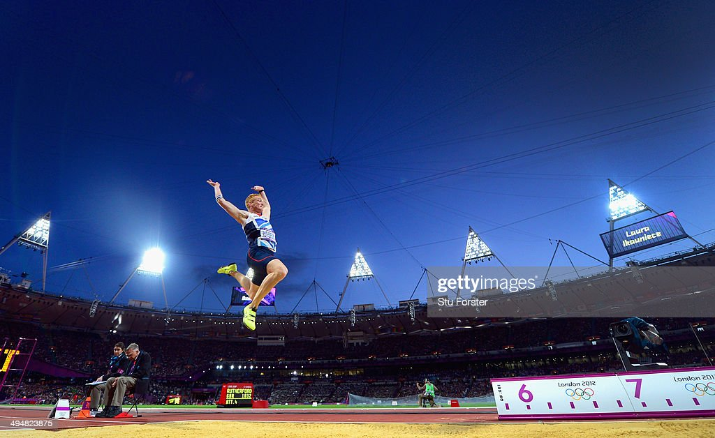 Greg Rutherford of Great Britain on his way to winning the gold medal in the Men's Long Jump Final on Day 8 of the London 2012 Olympic Games at Olympic Stadium on August 4, 2012 in London, England.