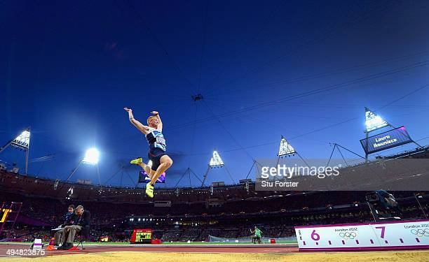 Greg Rutherford of Great Britain on his way to winning the gold medal in the Men's Long Jump Final on Day 8 of the London 2012 Olympic Games at...