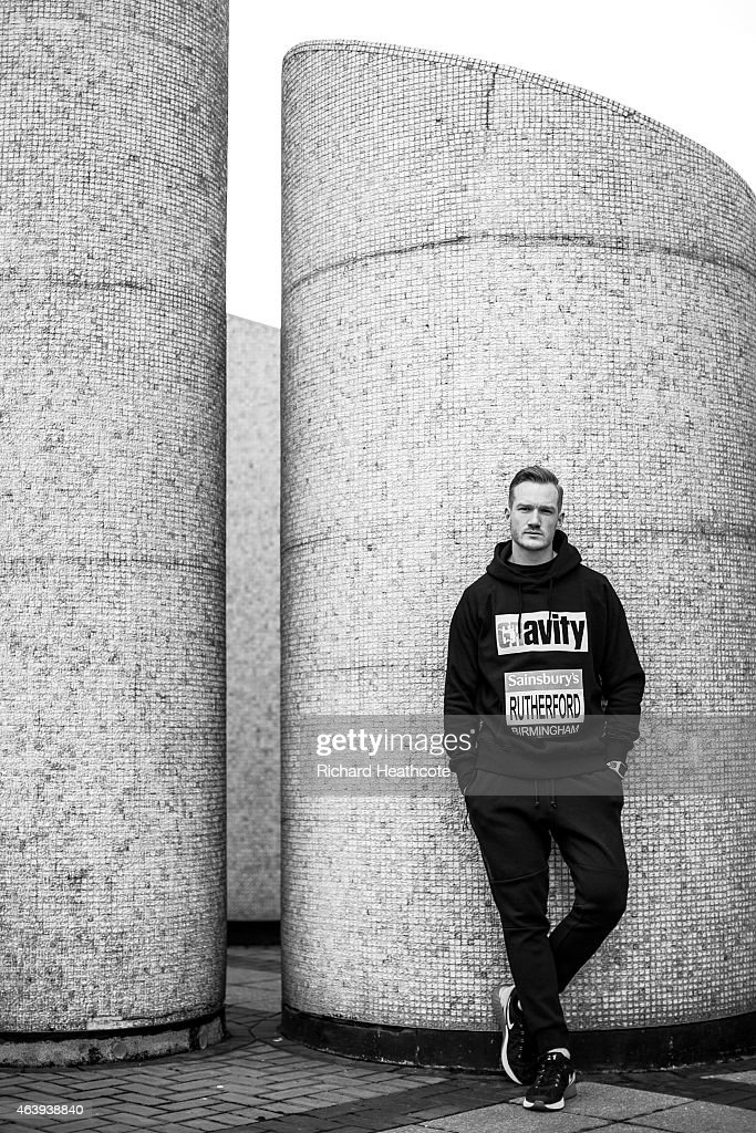 Greg Rutherford poses for a portrait during a media session at the Crowne Plaza Hotel on February 20 2015 in Birmingham England The Sainsbury's...