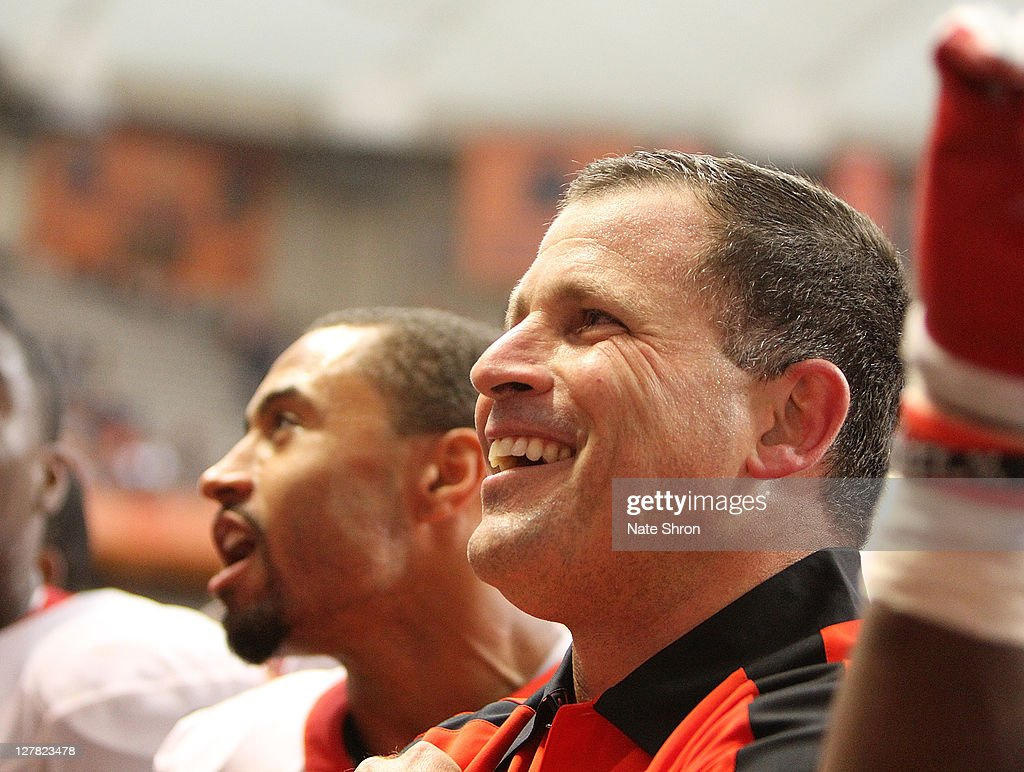 Greg Schiano head coach of the Rutgers Scarlet Knights celebrates after an over time win against the Syracuse Orange on October 1 2011 at the Carrier...