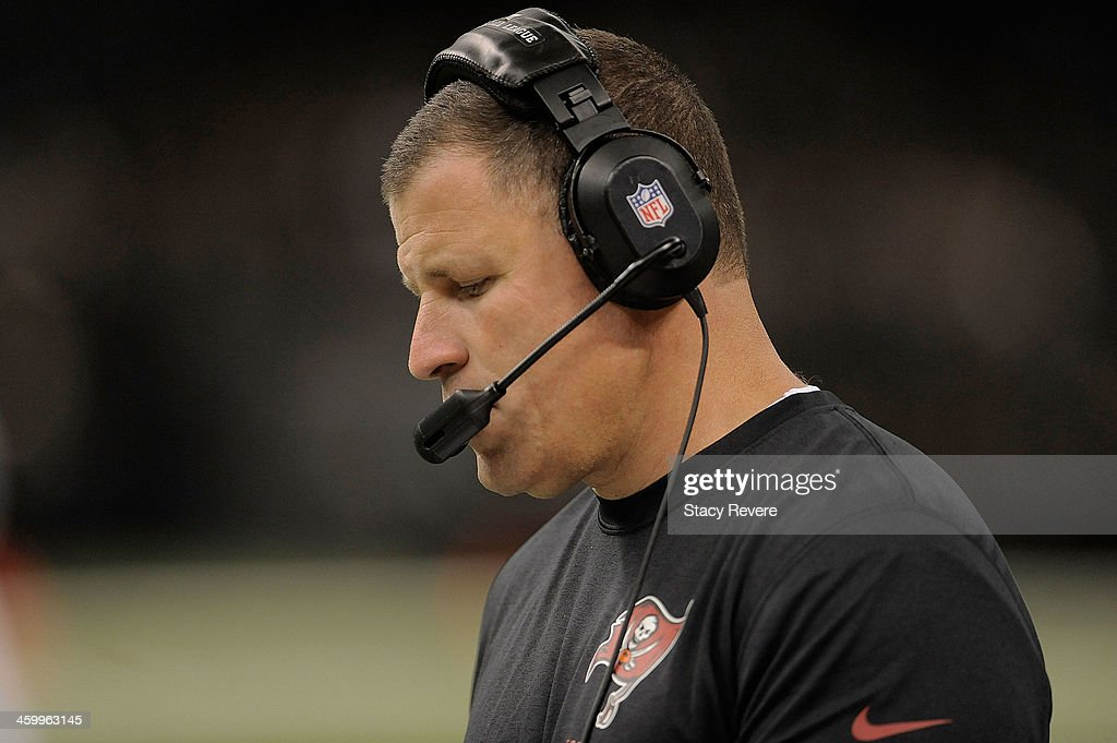 Greg Schiano head coach of the Tampa Bay Buccaneers watches action during a game against the New Orleans Saints at the MercedesBenz Superdome on...