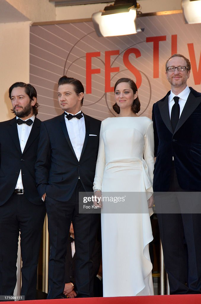 Greg Shapiro, actor Jeremy Renner, Marion Cotillard and director James Gray attend 'The Immigrant' Premiere during the 66th Annual Cannes Film Festival at Grand Theatre Lumiere on May 24, 2013 in Cannes, France.