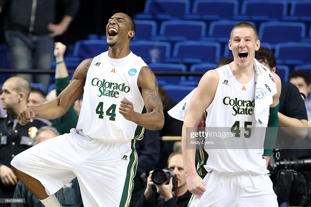 Greg Smith #44 and Colton Iverson #45 of the Colorado State Rams celebrates towards the end of the game against the Missouri Tigers during the second round of the 2013 NCAA Men's Basketball Tournament at the Rupp Arena on March 21, 2013 in Lexington, Kentucky.