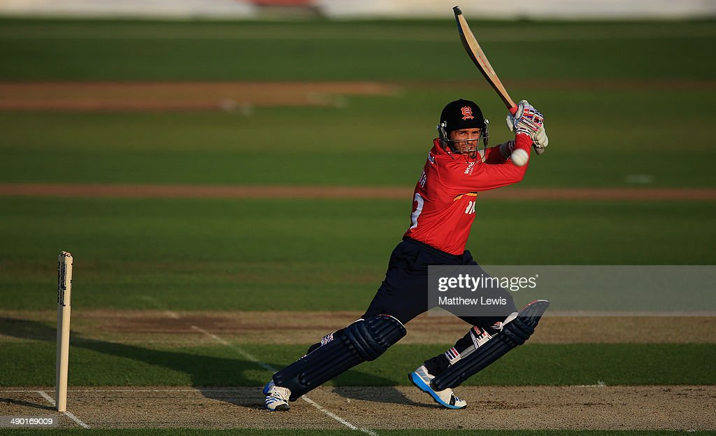 Greg Smith of Essex hits the ball towards the boundary during a Tour match between Essex and Sri Lanka at Ford County Ground on May 13 2014 in...